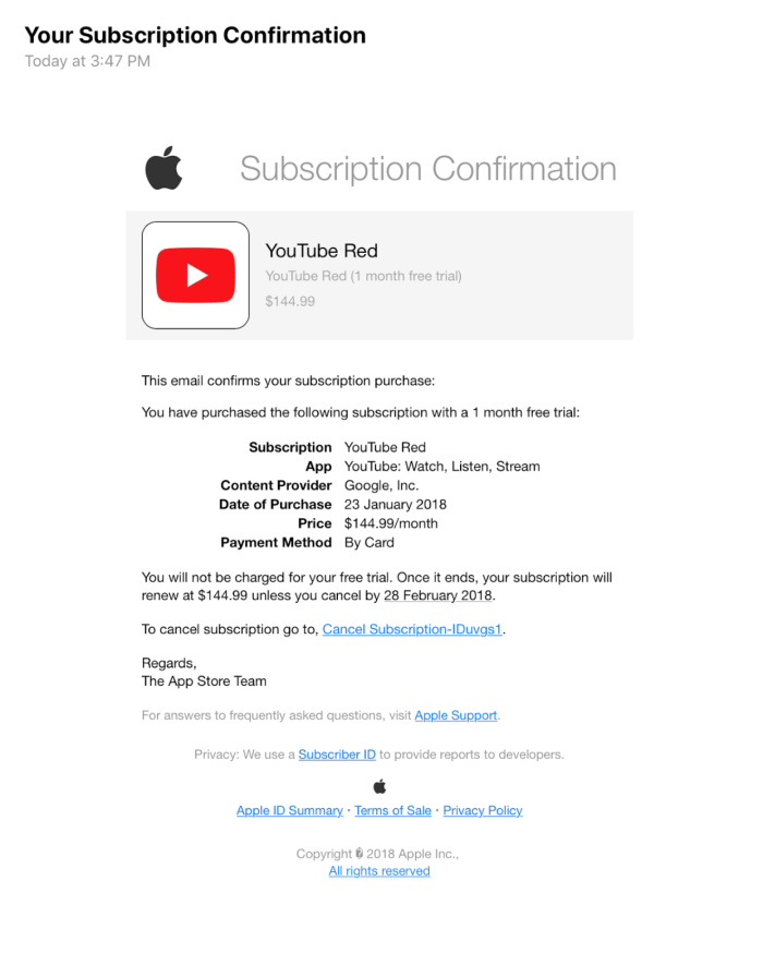 Youtube fake bill